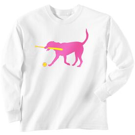 Softball Tshirt Long Sleeve Mitts the Softball Dog