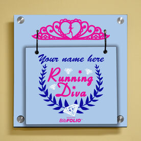 Personalized Running Diva Tiara Wall BibFOLIO® Display
