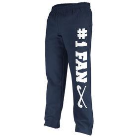 Field Hockey Fleece Sweatpants #1 Fan with Field Hockey Sticks