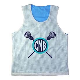 Girls Racerback Pinnie Monogram Lacrosse Sticks Blue