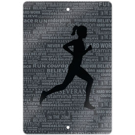 "Running Aluminum Room Sign Inspiration Female (18"" X 12"")"