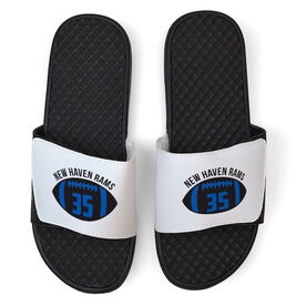 Football White Slide Sandals - Number in Ball