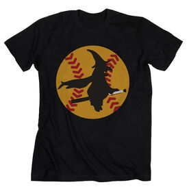 Softball Tshirt Short Sleeve Witch Riding Softball Bat