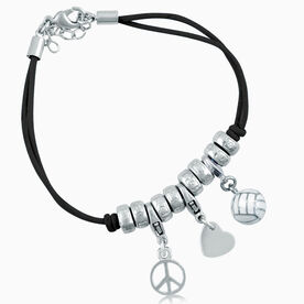 Peace Love Volleyball Charm Bracelet - Enamel Volleyball