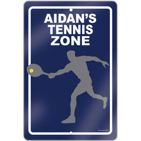 """Tennis Aluminum Room Sign Personalized Tennis Zone Guy (18"""" X 12"""")"""