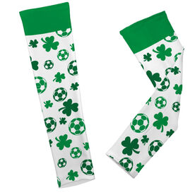 Soccer Printed Arm Sleeves Shamrock All Over Pattern With Soccer Balls