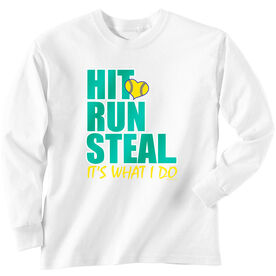 Softball T-Shirt Long Sleeve Hit Run Steal