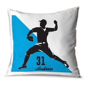 Baseball Throw Pillow Personalized Baseball Pitcher Silhouette