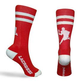 Guys Lacrosse Woven Mid Calf Socks - Player (Red/White)