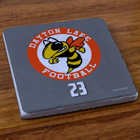 Football Stone Coaster Custom Football Logo with Team Number