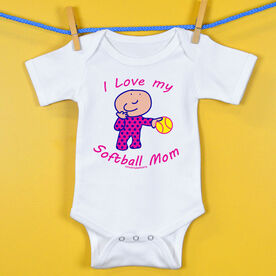 Softball Baby One-Piece I Love My Softball Mom