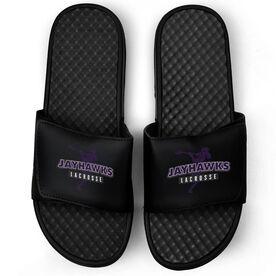 Guys Lacrosse Black Slide Sandals - Your Team Name