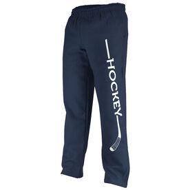 Hockey Fleece Sweatpants Hockey Stick with Word
