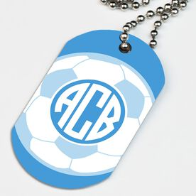 Soccer Printed Dog Tag Necklace Monogrammed Soccer Ball
