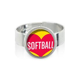 Heart Softball SportSNAPS Ring