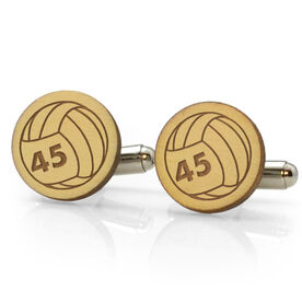 Volleyball Engraved Wood Cufflinks Ball with Your Number