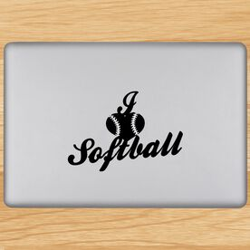 I Heart Softball Removable ChalkTalkGraphix Laptop Decal