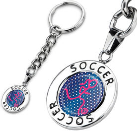 Soccer Circle Keychain Soccer Girl Graphic