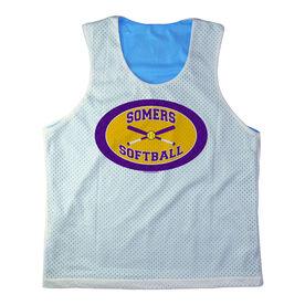 Girls Softball Racerback Pinnie Personalized Softball Team with Crossed Bats Purple Yellow