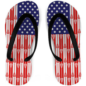 Guys Lacrosse Flip Flops USA Flag Sticks