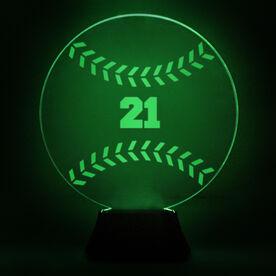 Baseball Acrylic LED Lamp Hardball With Number