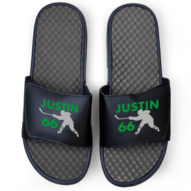Hockey Navy Slide Sandals - Personalized Hockey Shooter