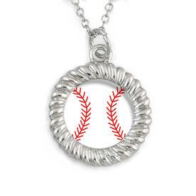 Braided Circle Necklace Baseball