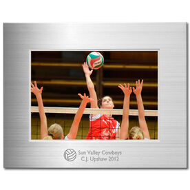 Engraved Volleyball Frame Silver 5 x 7 with Volleyball Icon