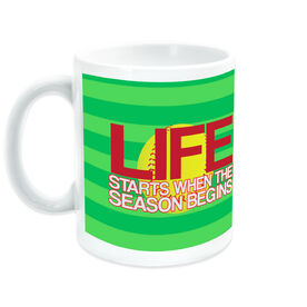 Softball Ceramic Mug Life Starts When The Season Begins