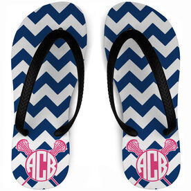 Girls Lacrosse Flip Flops Monogrammed Chevron Pattern With Crossed Sticks