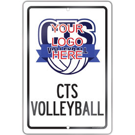 """Volleyball Aluminum Room Sign Custom Volleyball Logo with Team Name (18"""" X 12"""")"""