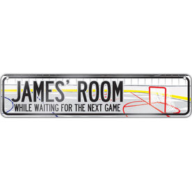 "Hockey Aluminum Room Sign Personalized Hockey Room (4""x18"")"