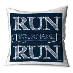 Running Throw Pillow Vintage Run Your Name Run