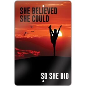 "Cheerleading Aluminum Room Sign (18""x12"") She Believed She Could So She Did"