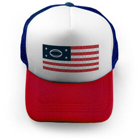 Rugby Trucker Hat - American Flag Words