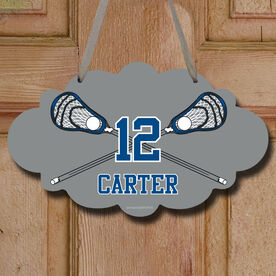 Lacrosse Cloud Room Sign Personalized Lacrosse Crossed Sticks with Big Number