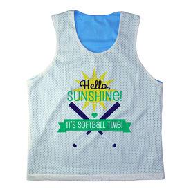 Girls Softball Racerback Pinnie Personalized Hello Sunshine It's Softball Time Green