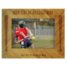 Softball Bamboo Engraved Picture Frame Your Text