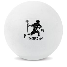 Personalized Printed Lacrosse Ball Guys Lacrosse Player Silhouette (White Ball)