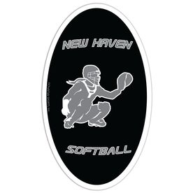 Softball Oval Car Magnet Personalized Catcher