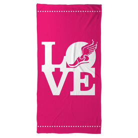 Track and Field Beach Towel Winged Foot Love