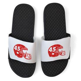 Football White Slide Sandals - Helmet Number
