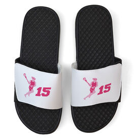 Girls Lacrosse White Slide Sandals - Lax Girl with Number
