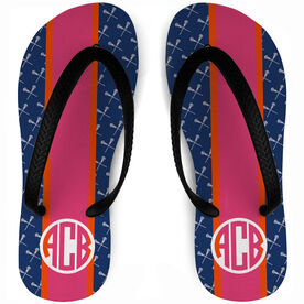 Girls Lacrosse Flip Flops Personalized Lax Stripe