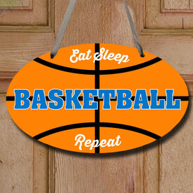 Basketball Oval Sign - Eat Sleep Basketball Repeat