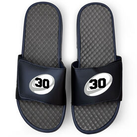 Rugby Navy Slide Sandals - Rugby Ball with Number