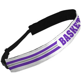 Julibands No-Slip Headbands Basketball Text with Stripe