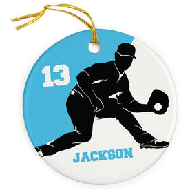 Baseball Porcelain Ornament Personalized Two Color Fielder