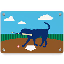 Baseball Metal Wall Art Panel - Buddy The Baseball Dog