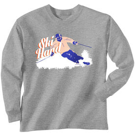 Skiing Tshirt Long Sleeve Ski Hard